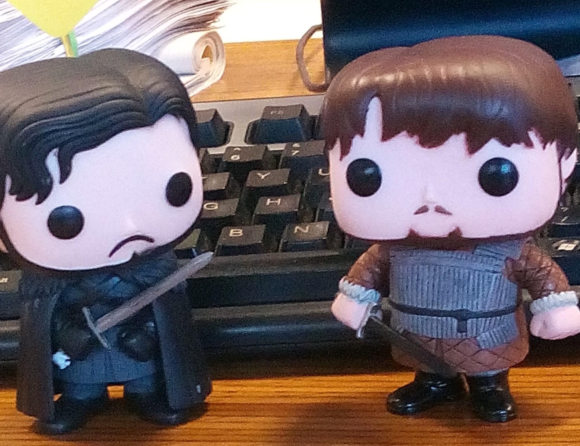 Ciccio Tarly e Jon Snow che vivono con me al lavoro questa mattina hanno indetto una protesta sindacale per discutere del loro raccapricciante destino. In questa immagine mi precludono l'accesso alla tastiera.